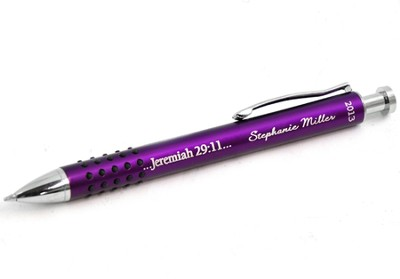 Personalized, Jeremiah 29:11 Graduation Purple Metal   Pen With Grip  -