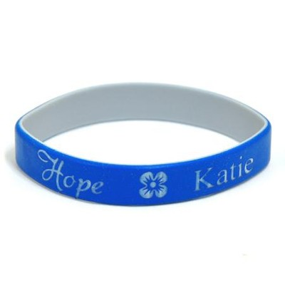 Personalized, Hope Wristband, With Name and Flower, Blue  -