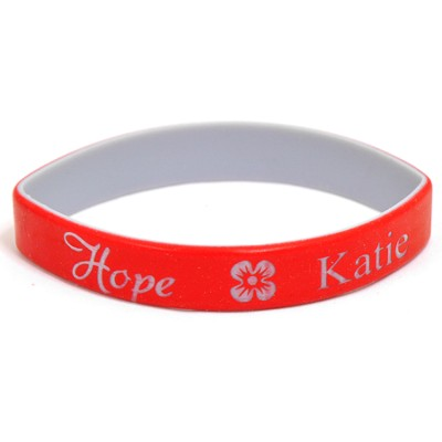 Personalized, Hope Wristband, With Name and Flower, Red  -