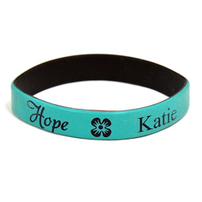 Personalized, Hope Wristband, With Name and Flower,  Teal  -
