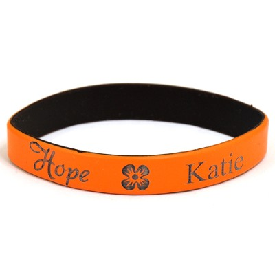 Personalized, Hope Wristband, With Name and Flower, Orange  -
