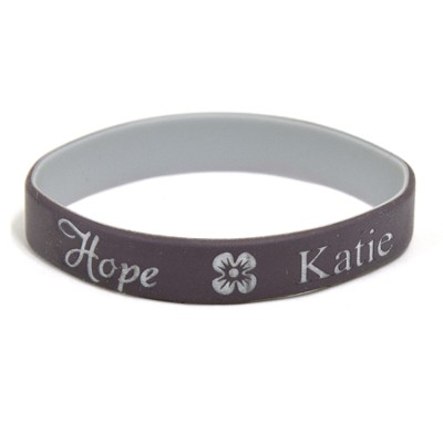 Personalized, Hope Wristband, With Name and Flower, Brown  -
