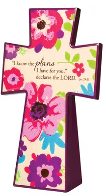 Tabletop Floral Cross, Jeremiah 29:11  -