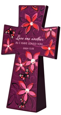 Tabletop Floral Cross, Love One Another  -