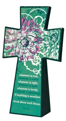 Tabletop Floral Cross, Whatever is True  -