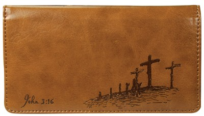 John 3:16 Checkbook Cover, Tan  -