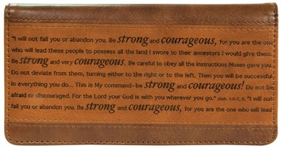 Strong and Courageous Checkbook Cover, Brown  -