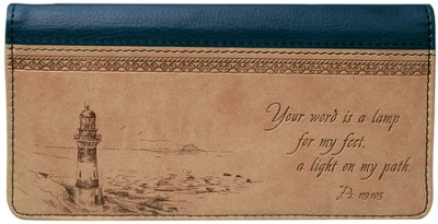 Lighthouse Checkbook Cover, Tan  -