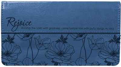 Rejoice Psalm 100:2 Checkbook Cover, Blue  -