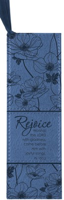 Rejoice Psalm 100:2 Bookmark, Blue  -