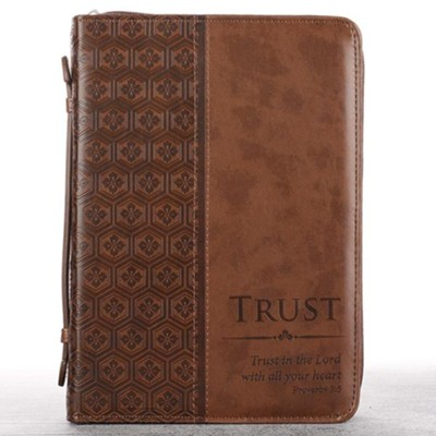 Trust Proverbs 3:5 Bible Cover, Brown, Large  -