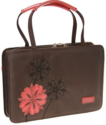 Love Flower Bible Cover, Brown and Pink, Large  -