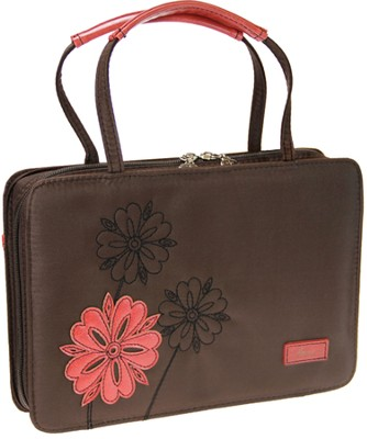 Love Flower Bible Cover, Brown and Pink, Medium  -