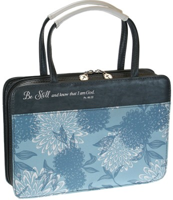 Be Still Bible Cover, Blue Floral, Large  -