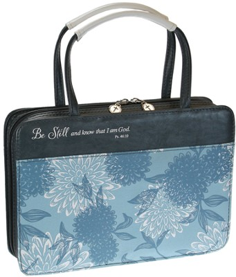 Be Still Bible Cover, Blue Floral, Medium  -