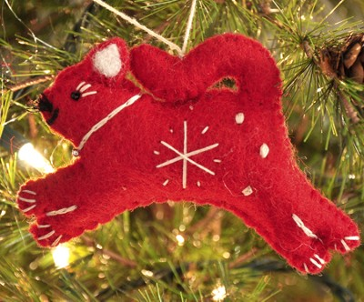 Snowflake Cat Ornament, Red, Fair Trade Product  -