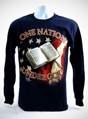 One Nation Long Sleeve T-Shirt, Navy, Small (36-38)   -