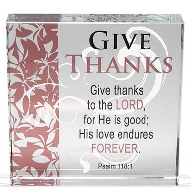 Give Thanks Glass Block  -