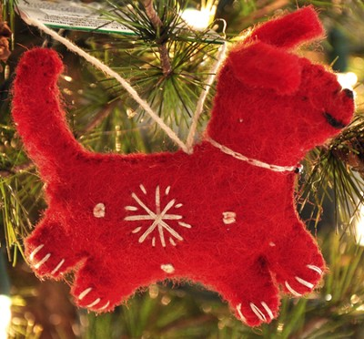 Snowflake Dog Ornament, Red, Fair Trade Product  -