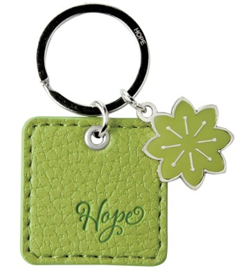 Hope, LuxLeather Keyring, Green  -