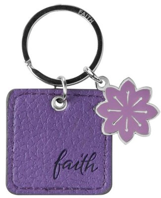 Faith, LuxLeather Keyring, Purple  -