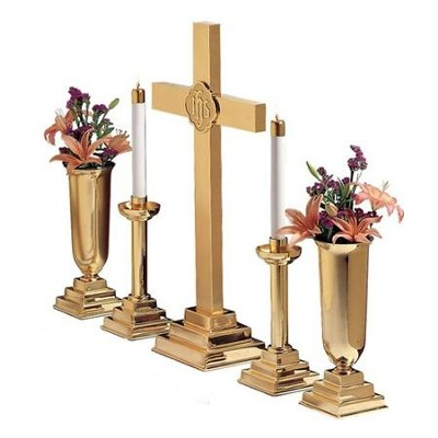"Brass Altar Set, 30""     -"