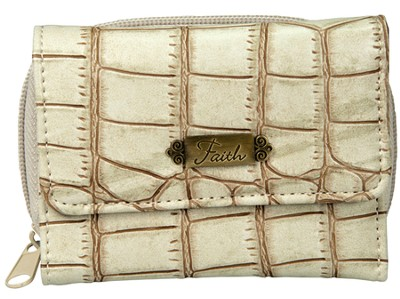 Faith, Croc Embossed Wallet, Cream   -