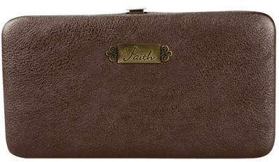 Faith, Faux Leather Clutch Wallet, Brown  -