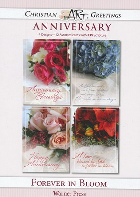 Forever in Bloom, Box of 12 Assorted Anniversary Cards  -