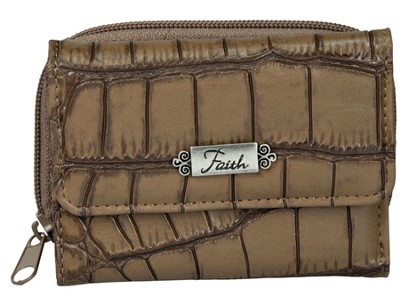 Faith, Croc Embossed Wallet, Khaki  -
