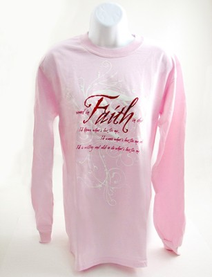 Rooted in Faith, Long Sleeve Tee, Pink, Small (36-38)  -