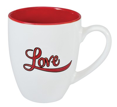 Love Stoneware Mug, White and Red  -
