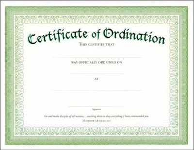 Embossed Ordination Certificates (Matthew 28:19-20, NIV) 6  -