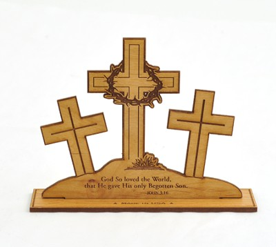 Three Crosses John 3:16 Plaque   -