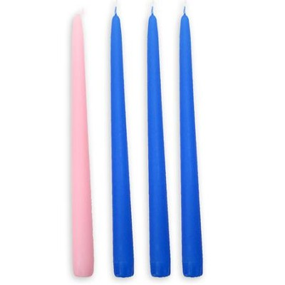 Advent Candles, 7/8 x 12, Set of 4 with Blue    -