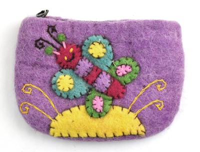 Felt Zippered Coin Purse, Butterfly, Fair Trade Product  -