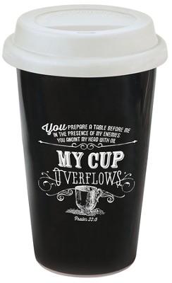 My Cup Overflows, Chalkboard Travel Mug  -
