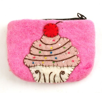 Felt Zippered Coin Purse, Cupcake, Fair Trade Product  -