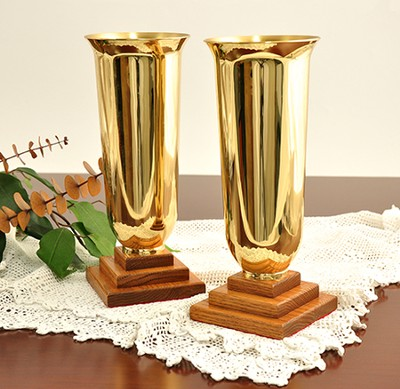 Solid Oak & Brass Vases (Set of 2)    -