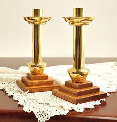 Solid Oak & Brass Candlestickes (Set of 2)   -