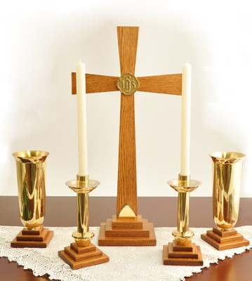 Solid Oak & Brass Altar Set   -