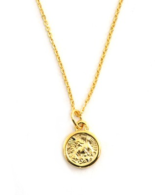 Guardian Angel Medallion Necklace   -