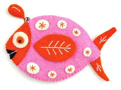 Felt Zippered Fish Shaped Coin Purse, Pink and Orange, Fair Trade Product  -