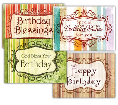 Birthday Greetings, Box of 12 Assorted Birthday Cards  -