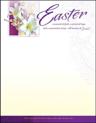 Easter - Purple with Lilies (Matthew 28:6) Letterhead, 100  -