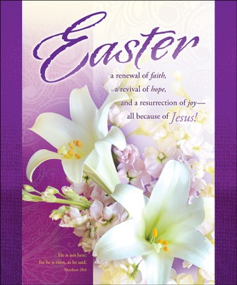 Easter - Purple with Lilies (Matthew 28:6) Large Bulletins, 100  -