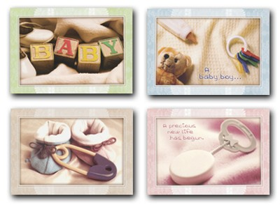 Precious Gifts, Box of 12 Assorted Baby Congratulation Cards  -