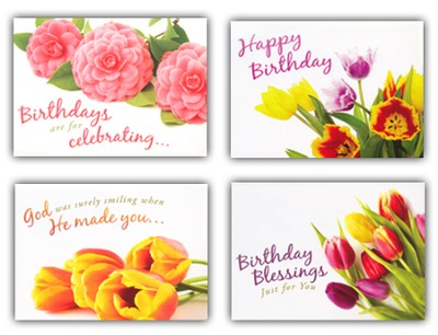 Birthday Blooms, Box of 12 Assorted Birthday Cards  -