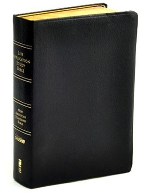 NAS Life Application Study Bible, Genuine leather, Black Thumb-Indexed  -