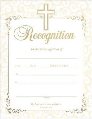 Embossed Recognition Certificates, Pack of 6   -